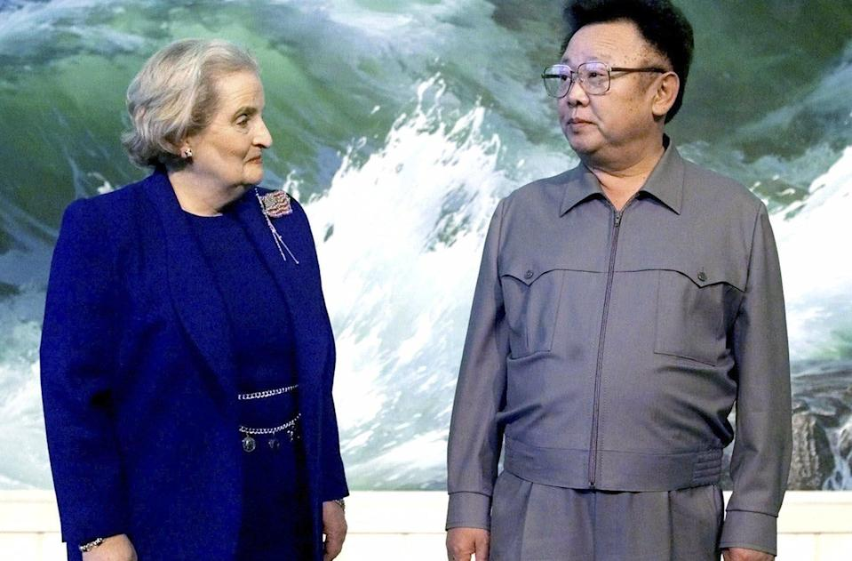 US Secretary of State Madeleine Albright, shown with North Korean leader Kim Jong-il in 2000, travelled to Pyongyang with Sherman and would go on to co-found a consulting company with her. Photo: AP