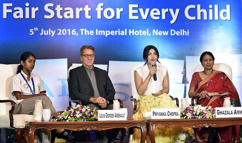 NEW DELHI, INDIA - JULY 5: Bollywood actress and UNICEF National Ambassador Priyanka Chopra along with UNICEF Representative to India Louis-Georges Arsenault and media personality Ghazala Amin during the discourse on #FairStart campaign for every child organized by UNICEF at Imperial Hotel on July 5, 2016 in New Delhi, India. (Photo by Raj K Raj/Hindustan Times via Getty Images) (Photo: Hindustan Times via Getty Images)