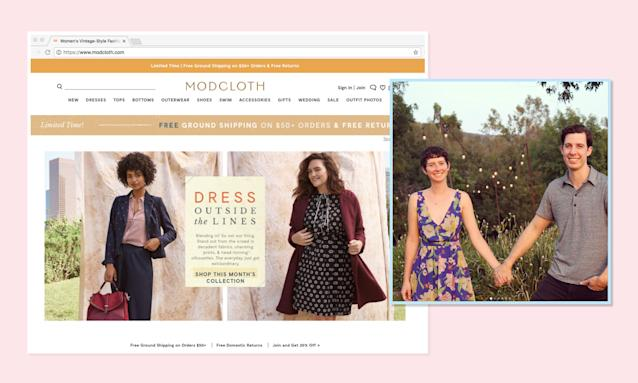 """<p><a href=""""https://www.modcloth.com/"""" rel=""""nofollow noopener"""" target=""""_blank"""" data-ylk=""""slk:ModCloth"""" class=""""link rapid-noclick-resp"""">ModCloth</a> describes its aesthetic as vintage-inspired, and doesn't relegate curvy women to shopping on a different website than its other customers. (Photo: ModCloth/Instagram) </p>"""