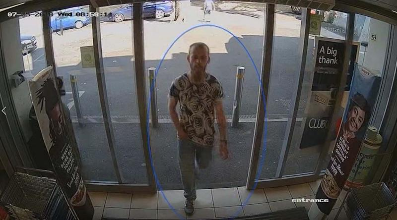 Stephen Nicholson appears in CCTV footage from July 2018 issued by Hampshire Constabulary. (PA)