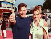 <p>Harry Connick Jr., with his wife Jill Goodacre, giving a big ol' thumbs up.</p>