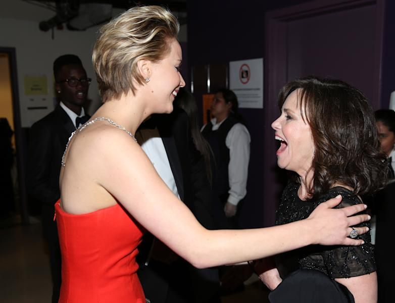 - Jennifer Lawrence, left, and Sally Field backstage during the Oscars at the Dolby Theatre on Sunday, March 2, 2014, in Los Angeles. (Photo by Matt Sayles/Invision/AP)