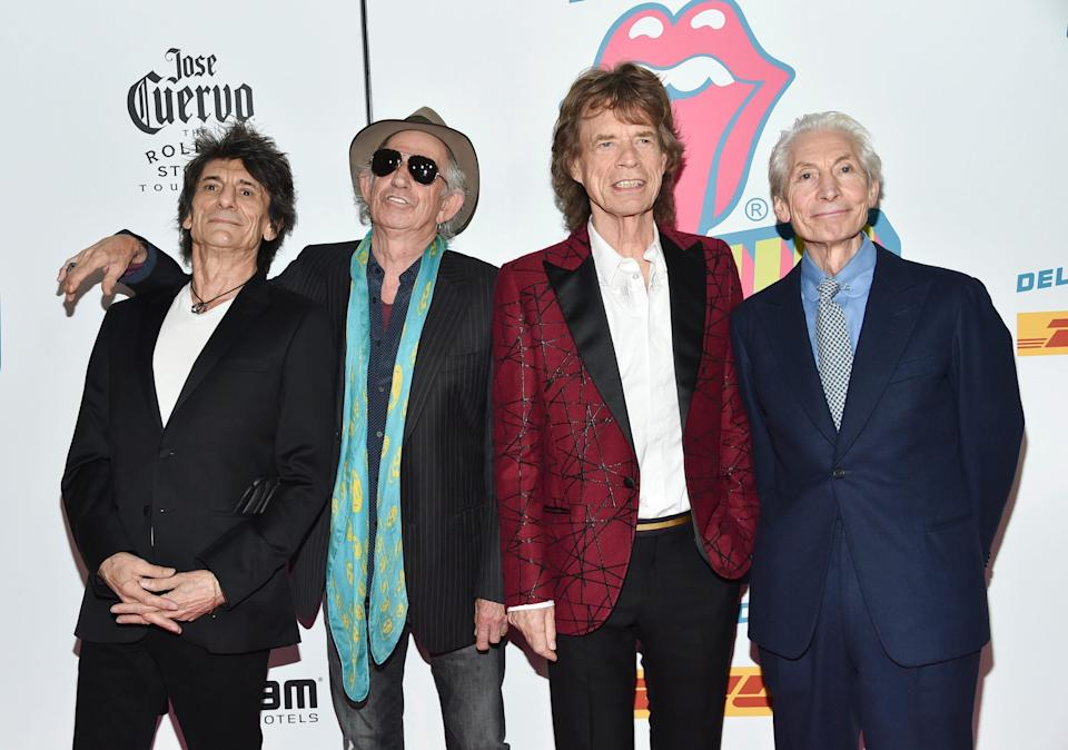 """Members of the Rolling Stones, from left, Ronnie Wood, Keith Richards, Mick Jagger and Charlie Watts at the opening night party for """"Exhibitionism"""" at Industria in New York on Nov. 15, 2016."""