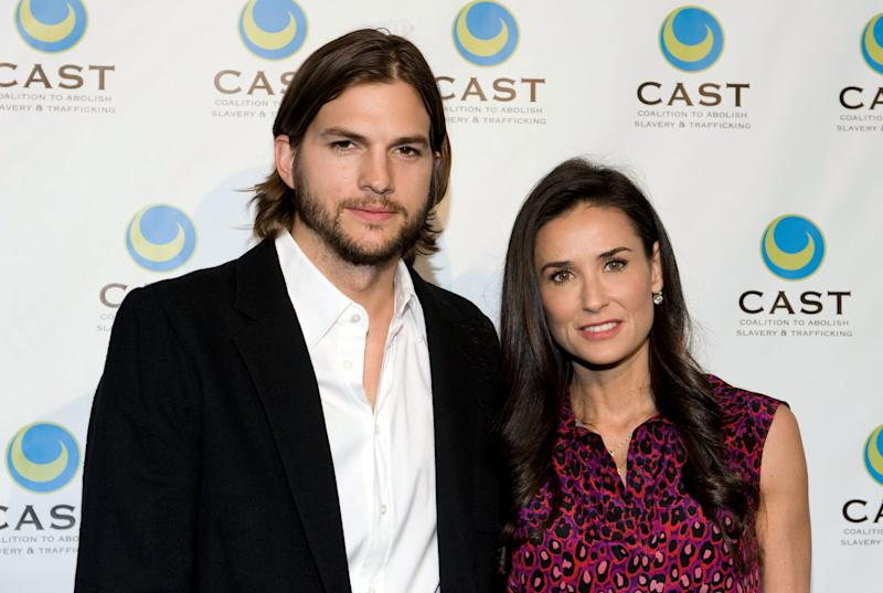 LOS ANGELES, CA - MAY 12: Actor Ashton Kutcher (L) and actress Demi Moore arrive at the Coalition to Abolish Slavery & Trafficking's 13th Annual Gala at the Skirball Cultural Center on May 12, 2011 in Los Angeles, California. (Photo by Amanda Edwards/WireImage)