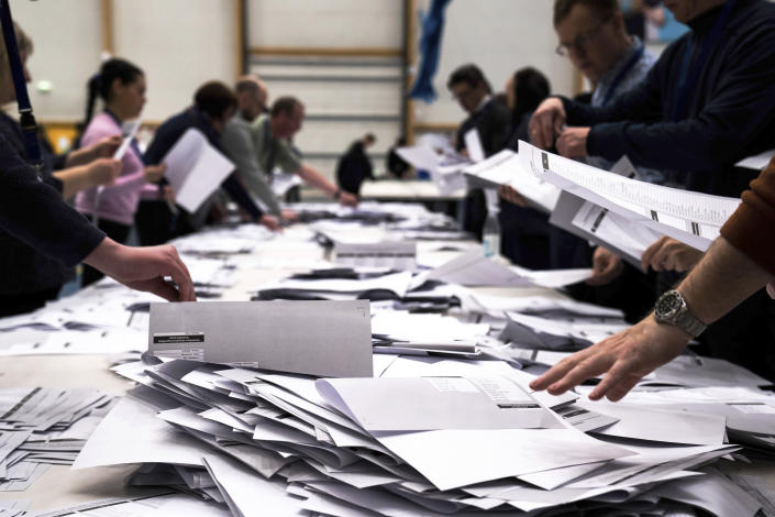 Electoral workers counts ballots in a parliament election in Nuuk, Denmark, Tuesday, April 6, 2021. Greenland is holding an early parliamentary election Tuesday focused in part on whether the semi-autonomous Danish territory should allow international companies to mine the sparsely populated Arctic island's substantial deposits of rare-earth metals. (Emil Helms/Ritzau Scanpix via AP)