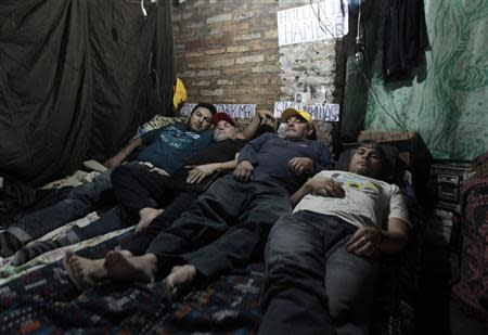 Route 30 public bus drivers Romero, Rojas, Peralta and Silva take part in a hunger strike in protest over their dismissal in Luque, on the outskirts of Asuncion
