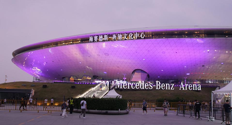 The Mercedes-Benz Arena in Shanghai, China, lit up for The International Dota 2 Championships 2019. (Photo: Yahoo Esports SEA)