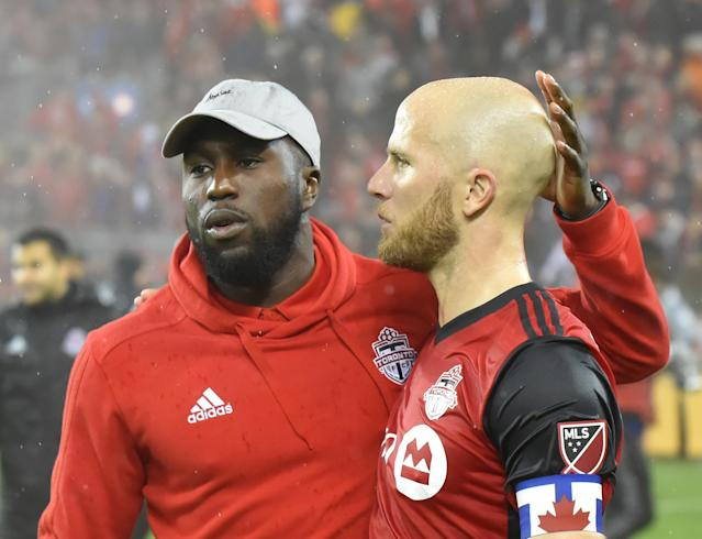 Jozy Altidore (left) blasted Toronto FC for what he characterized as the club's mishandling of an ankle injury sustained by Reds captain Michael Bradley during November's MLS Cup. (Dan Hamilton-USA TODAY Sports)