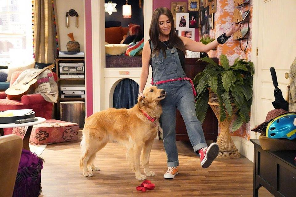 """Moon Frye in overalls with a dog on the new """"Punky Brewster."""""""