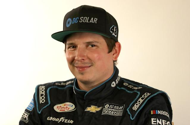 """<a class=""""link rapid-noclick-resp"""" href=""""/nascar/sprint/drivers/3689/"""" data-ylk=""""slk:Brennan Poole"""">Brennan Poole</a> competed in over 80 Xfinity Series races for Chip Ganassi Racing from 2015-17. (Photo by Streeter Lecka/Getty Images for NASCAR)"""