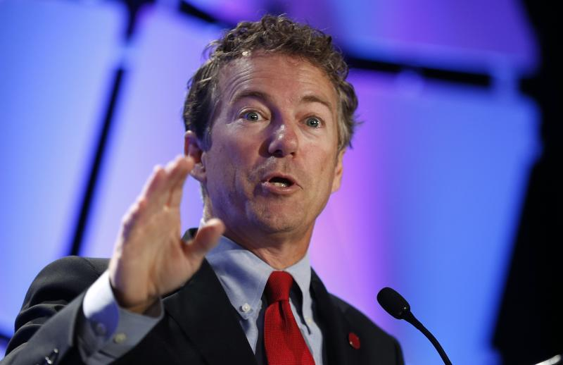 Rand Paul speaks at the LPAC conference in Chantilly, Virginia