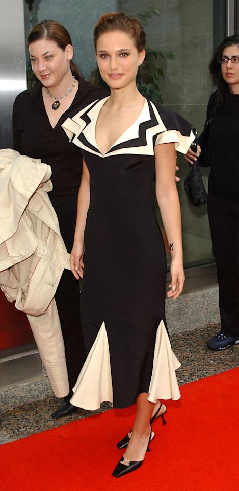 """2002: Black and White dress   How's this for a full course load? Portman filmed """"<a href=""""http://movies.yahoo.com/movie/1800421139/info"""">Star Wars II: Attack of the Clones</a>,"""" during her summer break from Harvard in 2000, made an edgy appearance at the film's charity premiere in 2002, and graduated with a degree in psychology in 2003."""