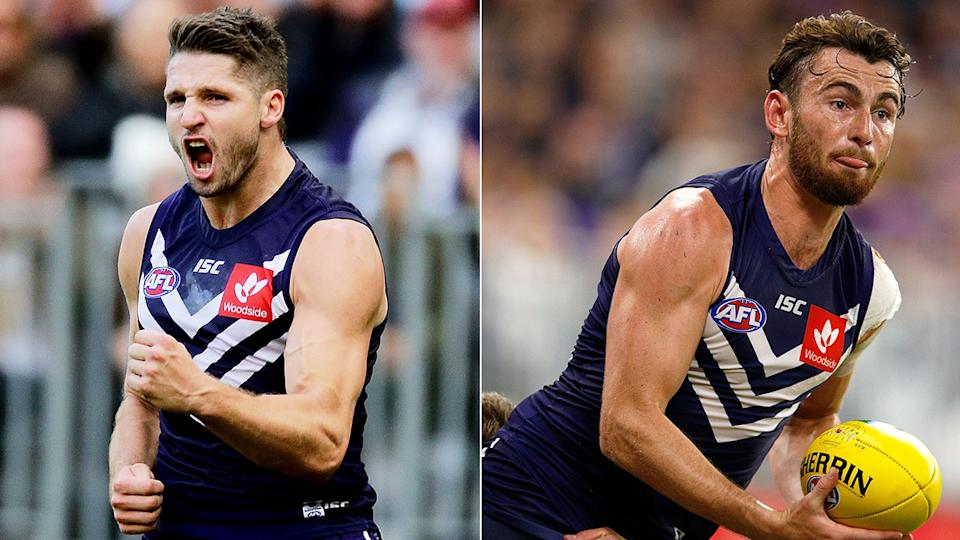 In this picture, Jesse Hogan and Connor Blakely are two Dockers stars on the outer at the club.