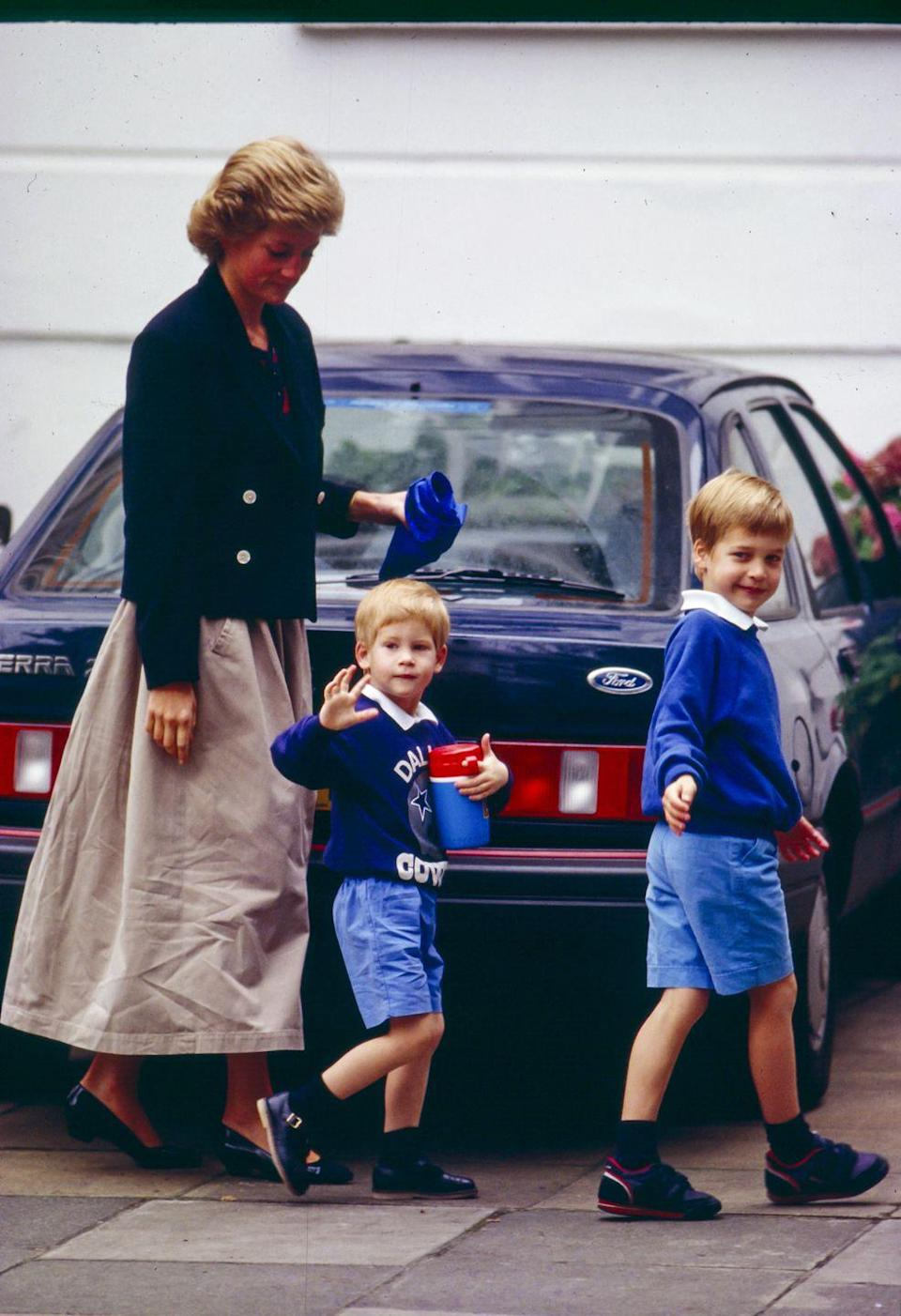 <p>Diana's school drop-off uniform included a chic rotation of blazers. For this milestone day, Diana chose a slightly cropped blazer: she and Prince William were accompanying Prince Harry to his first day of nursery school in September 1988.<br></p>