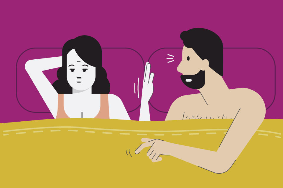 Vector illustration of woman make hand sign for no sex tonight as she feel boredom, menopause, or have sex problem with her partner. Married life problem concept. Flat design character.