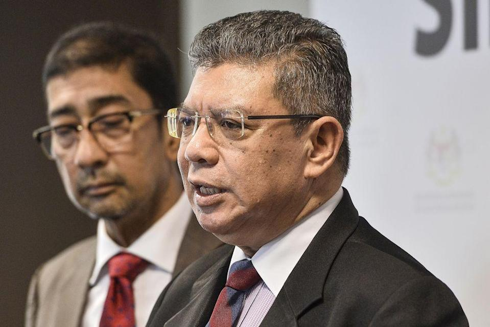Datuk Saifuddin Abdullah speaks to reporters during a press conference at the Ministry of Communications and Multimedia in Putrajaya March 12, 2020. — Picture by Miera Zulyana
