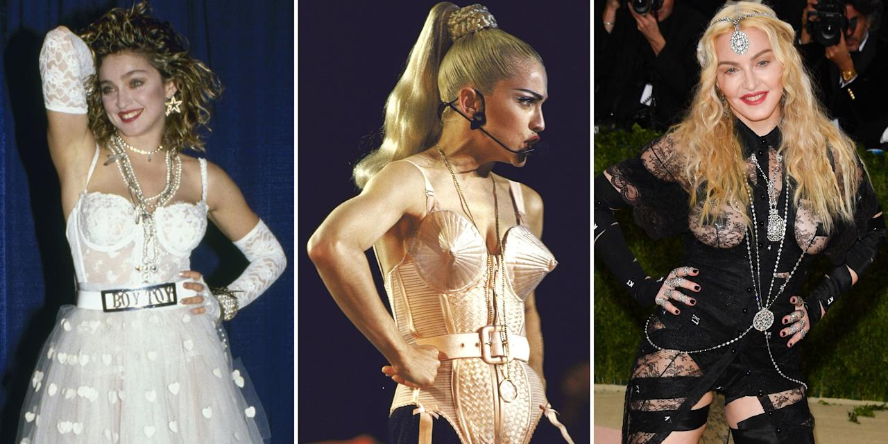 <p>Since she first hit the scene in the '80s, you could always count on Madonna to get people talking (or gasping) about her look. Whether it be the controversial use of crosses, cone bras, or unapologetically sexy looks, the Queen of Pop has mastered the art of shocking people through fashion. Take a look back at some of Madonna's most boundary-breaking outfit choices of all time. </p>