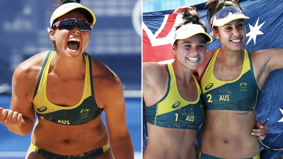 The Aussie girls, pictured here after their beach volleyball semi-final win.