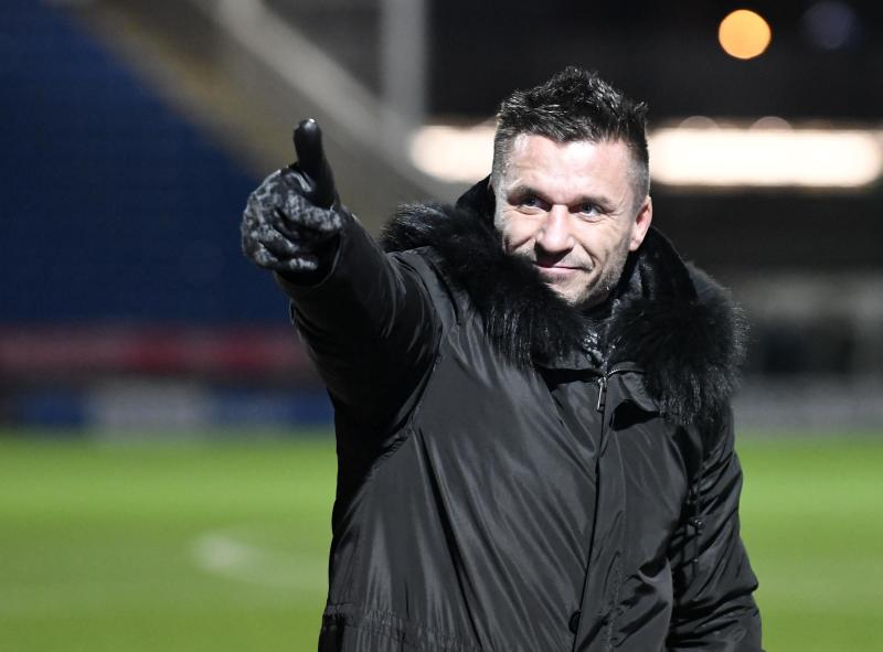 CHESTERFIELD, ENGLAND - NOVEMBER 10: Glenn Tamplin Owner of Billericay Town salutes the fans following the FA Cup First Round match between Chesterfield and Billericay Town at Proact Stadium on November 10, 2018 in Chesterfield, England. (Photo by George Wood/Getty Images)