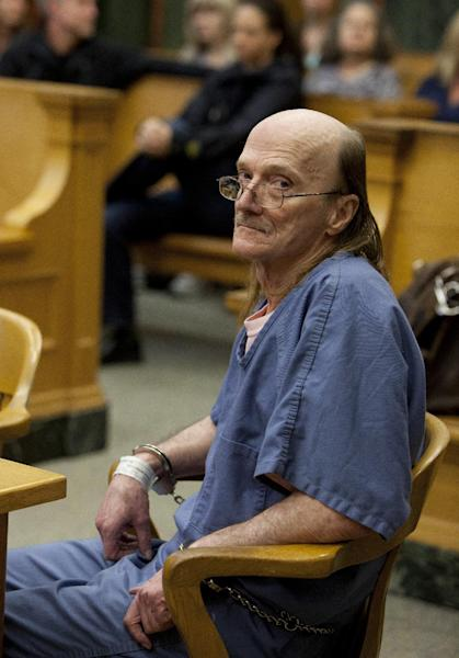 FILE - In this Oct. 9, 2013, file photo, convicted sexual predator Jeffrey Cutlip sits in court where he entered guilty pleas to three old Oregon homicides in Portland, Ore. Cutlip is scheduled to be formally sentenced Friday, Jan. 17, 2014 to life in prison. (AP Photo/The Oregonian, Beth Nakamura, File) MAGS OUT; TV OUT; LOCAL TV OUT; LOCAL INTERNET OUT; THE MERCURY OUT; WILLAMETTE WEEK OUT; PAMPLIN MEDIA GROUP OUT