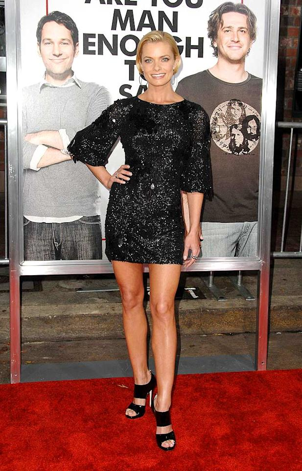 "Jamie Pressly impressed in a black Badgley Mischka sequined mini and Jimmy Choo ""Private"" strappy sandals at the LA premiere of ""I Love You Man."" Scott Kirkland/<a href=""http://www.infdaily.com"" target=""new"">INFDaily.com</a> - March 17, 2009"