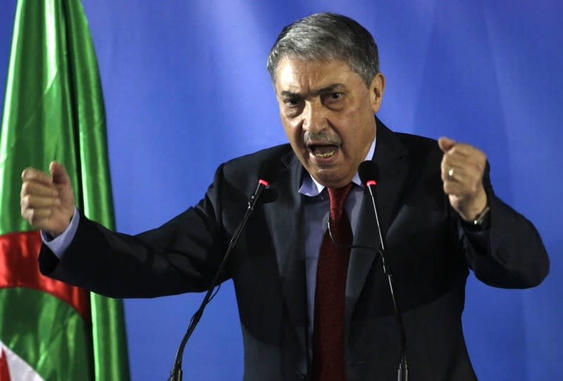 FILE PHOTO: Presidential candidate and former prime minister Ali Benflis speaks during a news conference in Algiers
