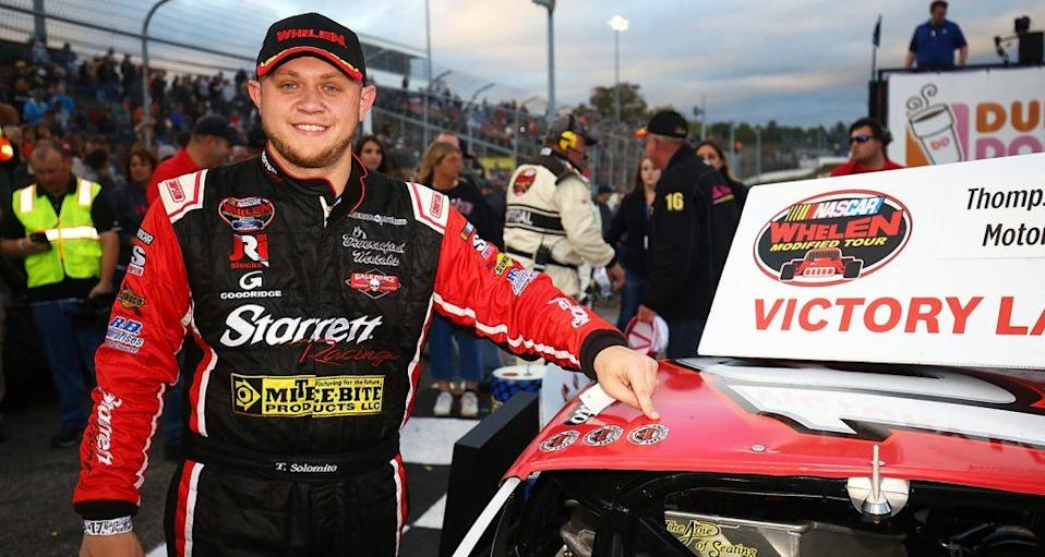 THOMPSON, CT - OCTOBER 15: Timmy Solomito, driver of the #16 Starrett Tools Ford, celebrates in Victory Lane after the NASCAR Whelen Modified Tour Sunoco World Series 150 at Thompson Speedway Motorsports Park on Oct 15, 2017 in Thompson, Connecticut. (Photo by Adam Glanzman/NASCAR)