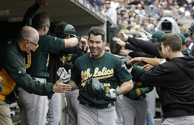 Oakland Athletics designated hitter Seth Smith (15) is congratulated after his solo home run during the fifth inning of Game 3 of an American League baseball division series against the Detroit Tigers in Detroit, Monday, Oct. 7, 2013. (AP Photo/Carlos Osorio)