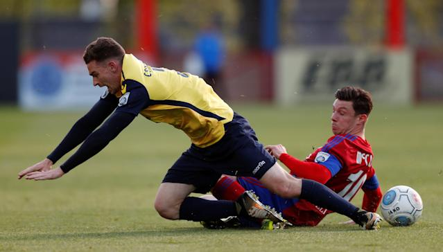 Soccer Football - National League Play-Off Eliminator - Aldershot Town v Ebbsfleet United - EBB Stadium, Aldershot, Britain - May 2, 2018 Aldershot Town's Matt McClure in action with Ebbsfleet United's Jack Connors Action Images/Peter Cziborra