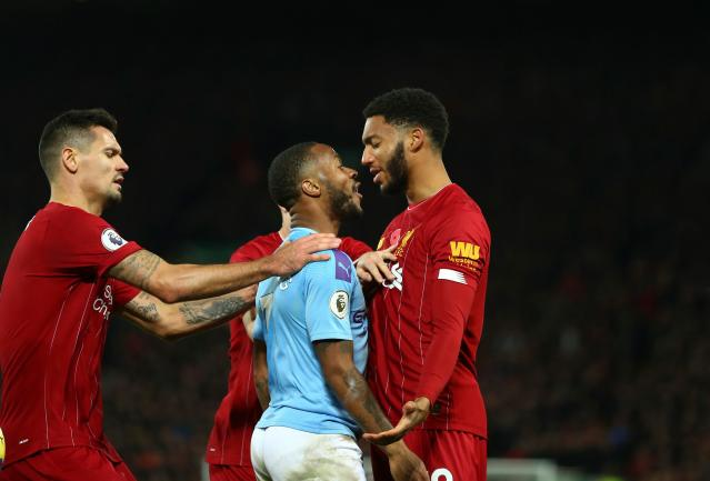 L'accrochage Sterling-Gomez pendant Liverpool-Manchester City (photo Getty Images)