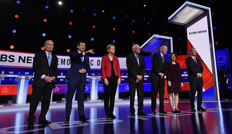 All the Dem candidates seen facing the audience in recent debate.