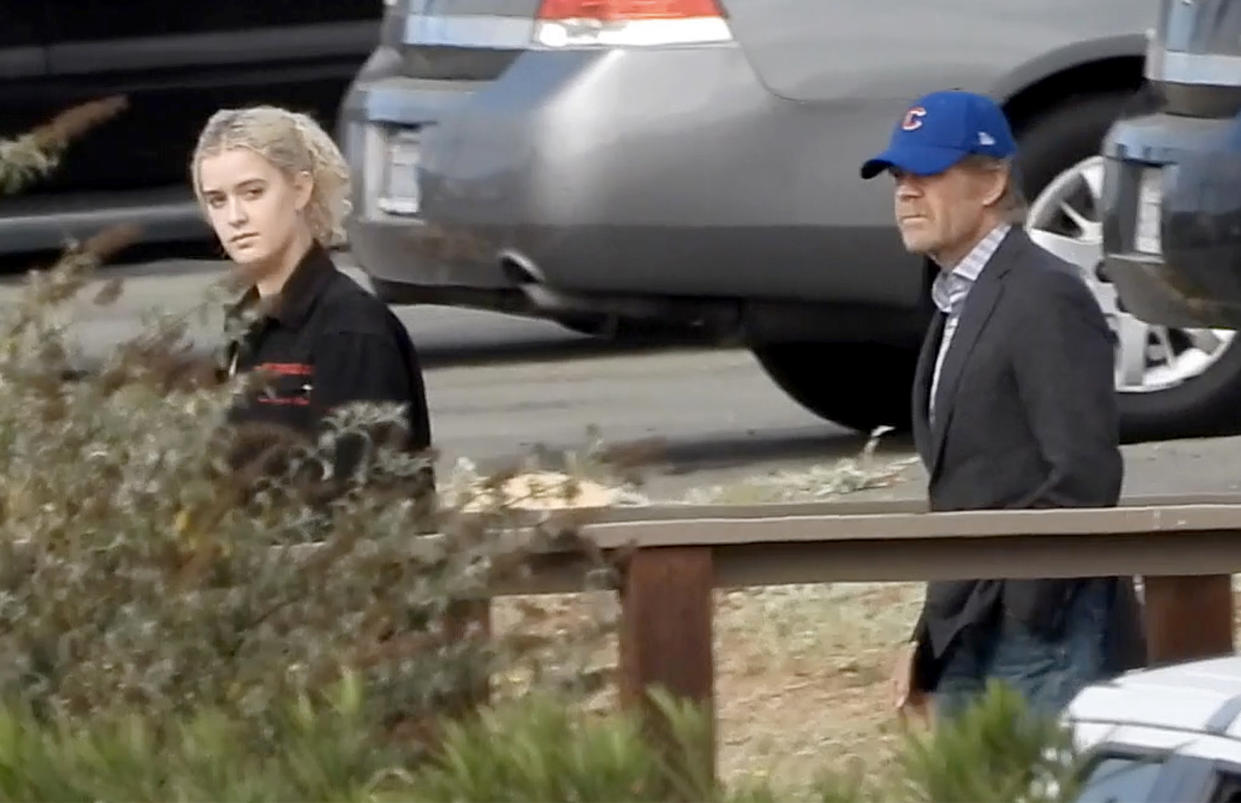Image: William H. Macy and his daughter, Georgia, visit Felicity Huffman at a federal correctional facility in Dublin, Calif., on Oct. 19, 2019.
