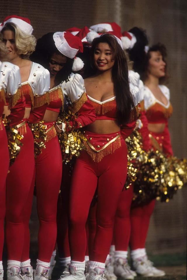 SAN FRANCISCO, CA - DECEMBER 25: The San Francisco 49ers cheerleaders perform during an NFL game against the Houston Oilers at Candlestick Park on December 25, 1993 in San Francisco, California. The Oilers defeated the 49ers 10-7. (Photo by Joseph Patronite/Getty Images)