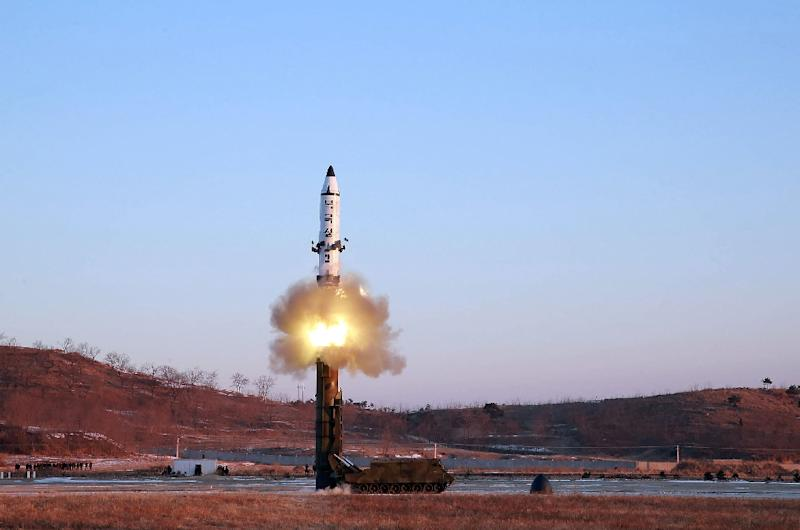 On February 12, 2017, North Korea fired what appeared to be a modified intermediate-range Musudan missile (pictured), which landed in the ocean (AFP Photo/STR)