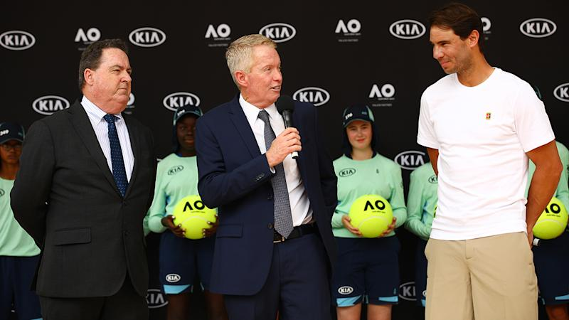 Craig Tiley and Rafael Nadal, pictured here at the 2020 Australian Open in January.