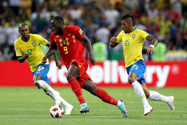 Romelu Lukaku glided past Brazilian midfielders Paulinho and Fernandinho in Belgium's 2-1 World Cup quarterfinal upset of Brazil. (Getty)