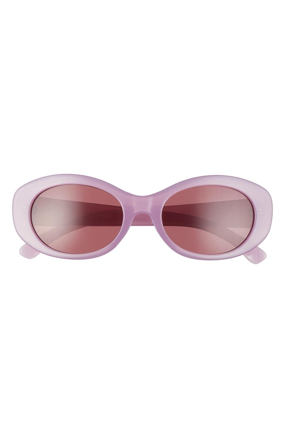 <p>Think pink in these cute <span>BP. Retro Oval Sunglasses</span> ($15).</p>
