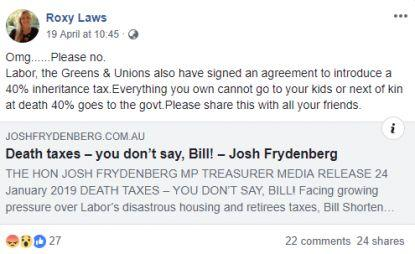 """A post circulating Facebook claiming that Labor intends to introduce a """"death tax"""". Source: AFP"""