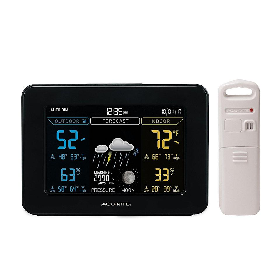 <p>Pull weather data directly from the backyard with this <span>AcuRite Weather Station</span> ($58). It comes in two pieces, and they can hang the device outside while tracking the details comfortably inside.</p>