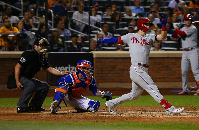 Sep 7, 2019; New York City, NY, USA; Philadelphia Phillies left fielder Corey Dickerson (31) hits a two run double against the New York Mets during the fourth inning at Citi Field. Mandatory Credit: Andy Marlin-USA TODAY Sports