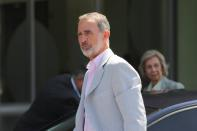 Spain's King Felipe arrives to visits his father Spain's King Juan Carlos at the Quiron Hospital in Madrid