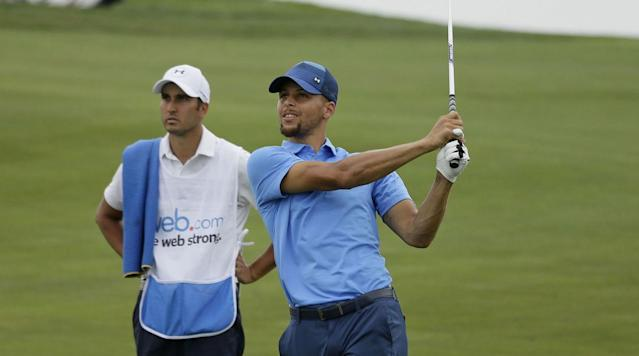 When he's not draining threes on the court, Steph Curry is busy outgolfing his competition. But even the three-time NBA champion loses sometimes.