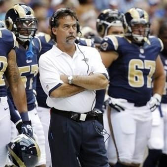 FILE - In this Aug. 12, 2012, file photo, St. Louis Rams head coach Jeff Fisher watches from the sideline against the Indianapolis Colts in the first half of an NFL preseason football game in Indianapolis. Expectations are realistic heading into the Rams' opener at Detroit, and not just because of what happened last season. The team will live and learn with its young players up and down the roster. Before the initial round of cuts, there were 40 players age 24 or younger on the 90-man roster. Nine starters, including starting quarterback Sam Bradford, fit in that group. The Rams are scheduled to begin their regular season on Sept. 9 against the Lions. (AP Photo/Michael Conroy, File)