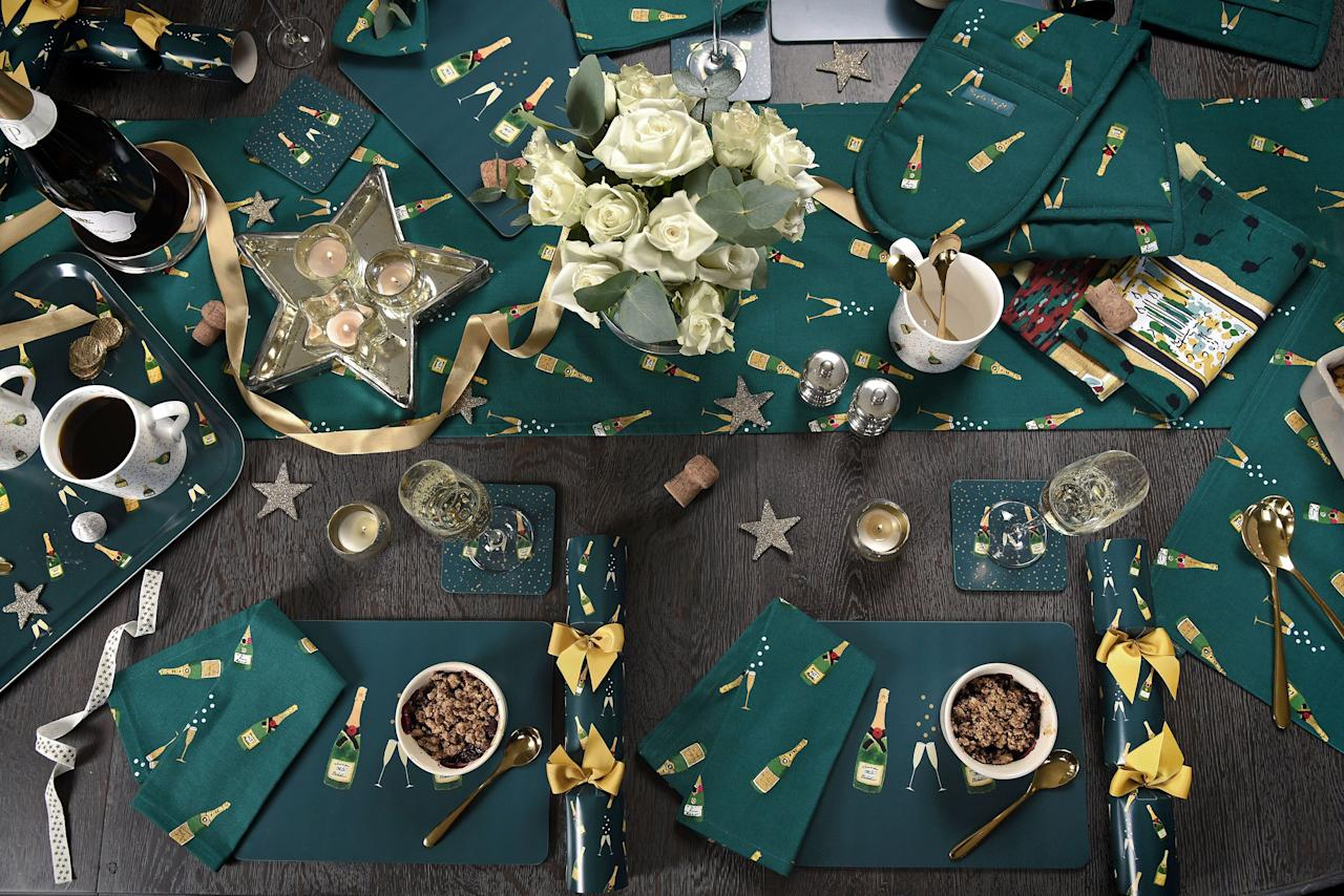 "<p><strong>British homeware designer <a href=""https://www.sophieallport.com/"" target=""_blank"">Sophie Allport</a> is putting the excitement into the festive season with a gorgeous new Bubbles & Fizz collection.</strong></p><p>If you're hosting <a href=""https://www.housebeautiful.com/uk/christmas/"" target=""_blank"">Christmas</a> parties or even the big day itself, you can now do it in fun-loving style with this exciting new collection. Sophie's illustrations of champagne flutes, bubbles and bottles of fizz pop out from the teal green background, and the merry – and super-stylish – print is available on 29 homeware products.</p><p>Not just for Christmas, the collection is also ideal for any special occasion or celebration, for birthday gifts, or to see in the New Year in style.</p><p>There's a wide range of kitchenware, including tea towels and oven gloves, plus tableware trays and paper napkins, mugs, hob covers, a pot grab – basically everything you need to stay stylish while you're cooking up a storm in the kitchen.</p><p>The launch of the range is perfect timing for Christmas, with a host of festive goodies available, including tree decorations, gift tags, gift bags, Christmas crackers, a dog toy (because your pooch needs a present too), a bottle bag, and even Christmas tree baubles.</p><p>Prices in the Sophie Allport Bubbles & Fizz collection start from £3 for a mini gift bag up to £34 for a door stop. Keep reading to ssee some of our favourite pieces from the new range…</p>"