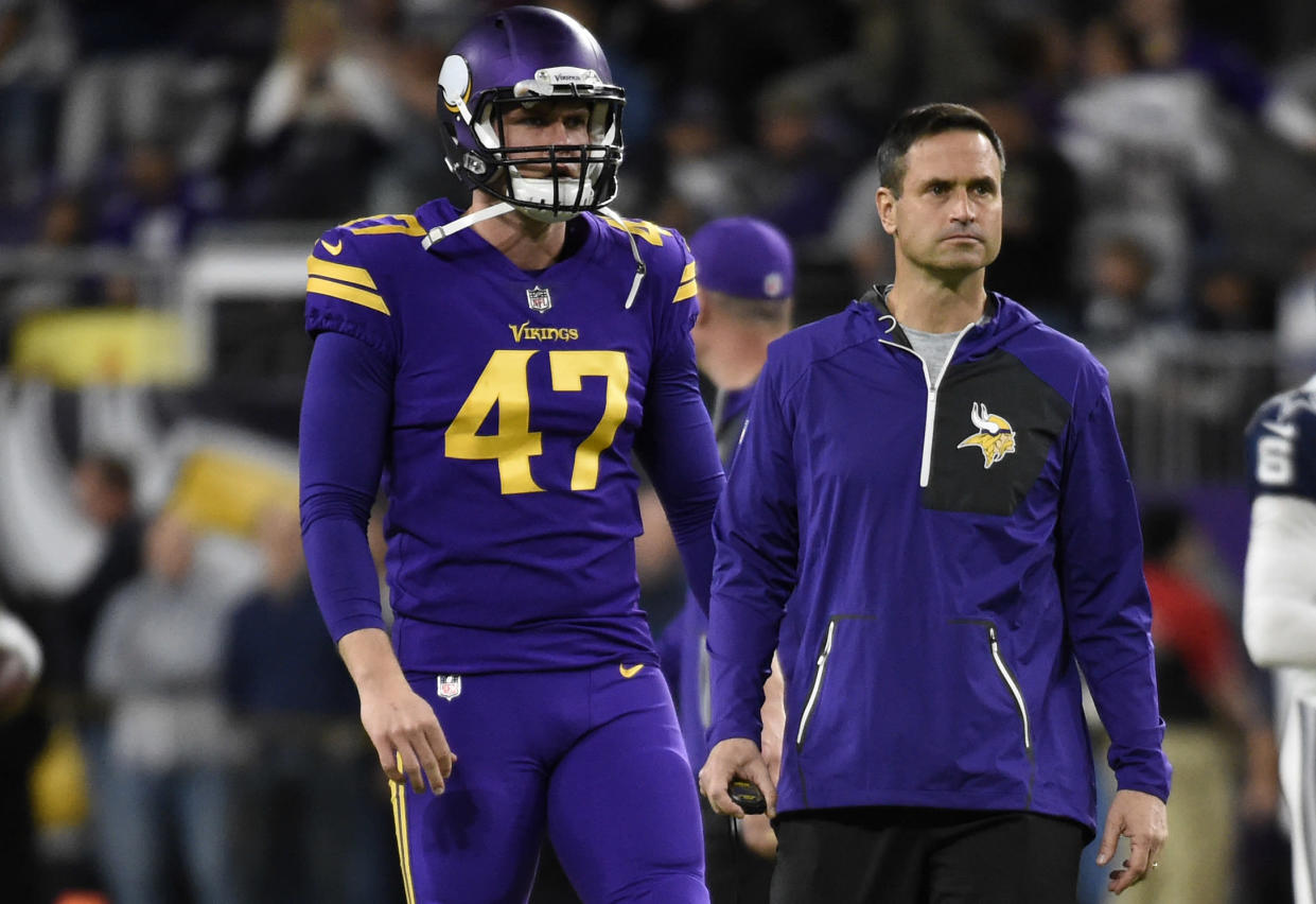 Vikings long snapper Kevin McDermott lost part of his pinky finger on Thursday night during their game against the Rams. (Getty Images)