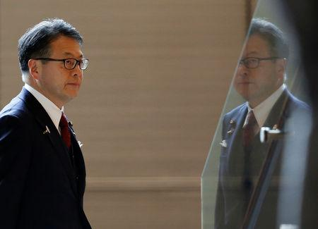 Japan's Minister of Trade and Industry Hiroshige Seko arrives at Prime Minister Shinzo Abe's official residence in Tokyo