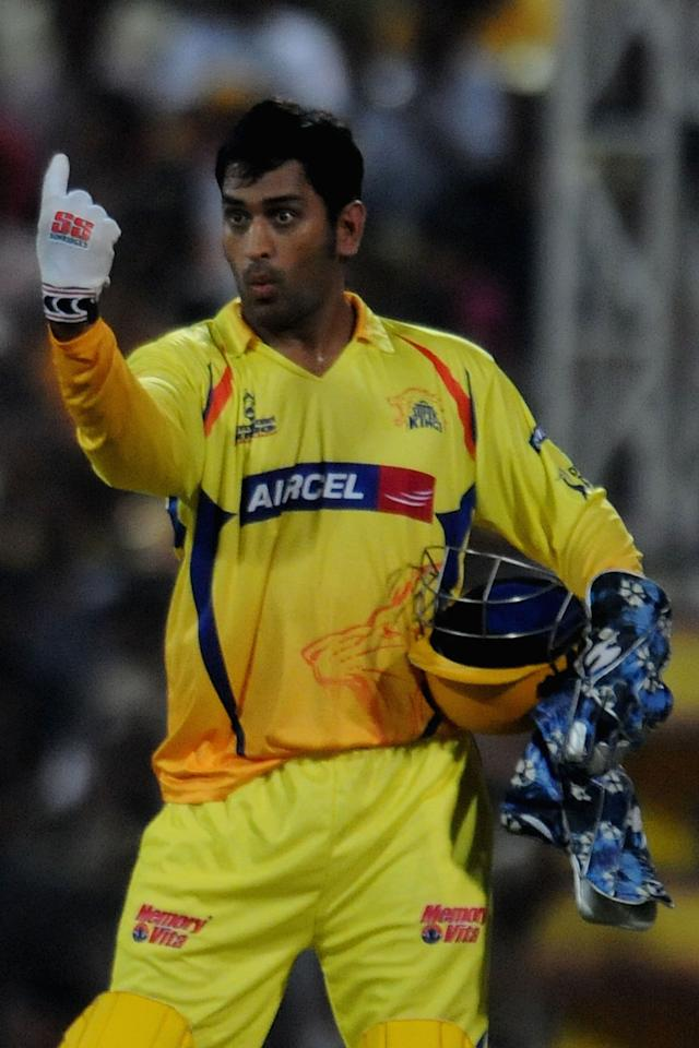 CHENNAI, INDIA - APRIL 15:  Mahendra Singh Dhoni captain of Chennai Super Kings gestures during the 2010 DLF Indian Premier League T20 group stage match between Chennai Super Kings and Delhi Daredevils played at the MA Chidambaram Stadium on April 15, 2010 in Chennai, India.  (Photo by Pal Pillai-IPL 2010/IPL via Getty Images)