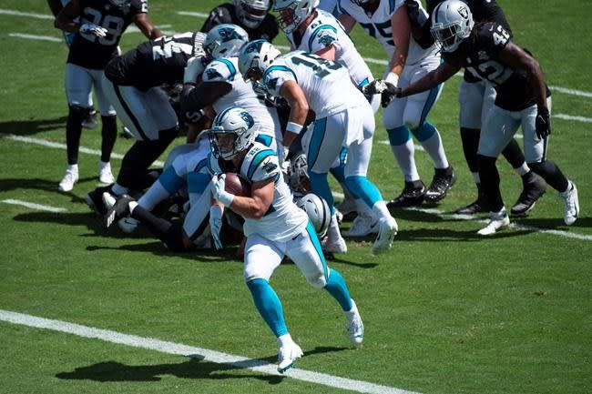 Jacobs runs for 3 TDs as Raiders hold off Panthers 34-30