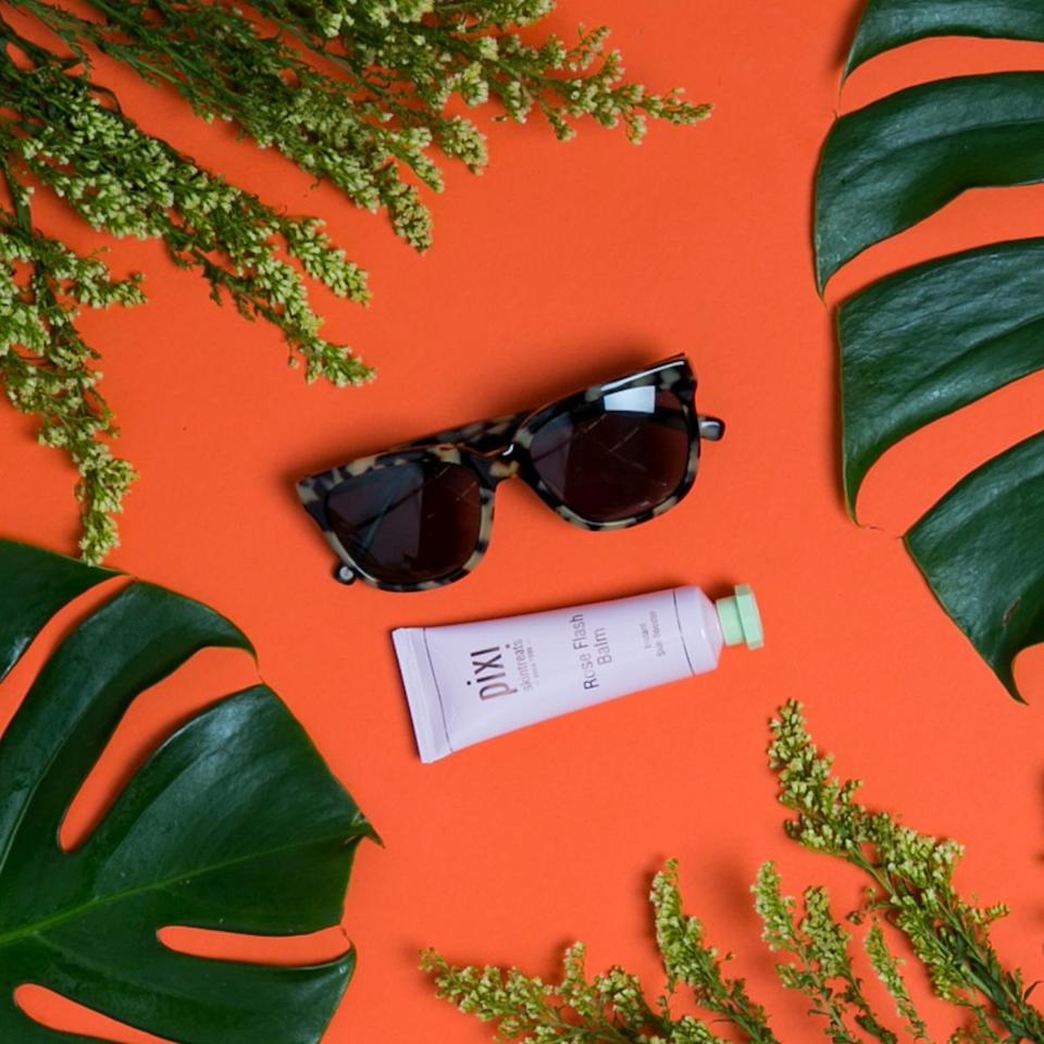 """<p>Warby Parker Reilly in Marzipan Tortoise with Green-Gray lenses, $95, <a rel=""""nofollow noopener"""" href=""""https://www.warbyparker.com/sunglasses/women/reilly/marzipan-tortoise"""" target=""""_blank"""" data-ylk=""""slk:warbyparker.com"""" class=""""link rapid-noclick-resp"""">warbyparker.com</a><br> Pixi Rose Flash Balm, $24, <a rel=""""nofollow noopener"""" href=""""https://www.target.com/p/pixi-by-petra-rose-flash-balm-1-52-fl-oz/-/A-52417795?ref=tgt_adv_XS000000&AFID=google_pla_df&CPNG=PLA_Health+Beauty+Shopping&adgroup=SC_Health+Beauty&LID=700000001170770pgs&network=g&device=c&location=9060351&gclid=CJC6lvuH3NQCFUxXDQodaRIEpQ&gclsrc=aw.ds"""" target=""""_blank"""" data-ylk=""""slk:target.com"""" class=""""link rapid-noclick-resp"""">target.com</a><br>(Photo: Casey Hollister for Yahoo Style)<br><br><br></p>"""