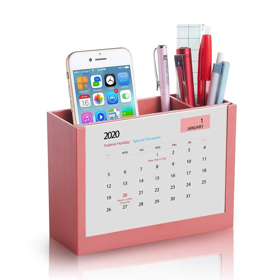 "<p>The little calendar on this <a href=""https://www.popsugar.com/buy/Pencil-Holder-Pen-Cup-Desk-Organizer-542786?p_name=Pencil%20Holder%20Pen%20Cup%20For%20Desk%20Organizer&retailer=amazon.com&pid=542786&price=13&evar1=casa%3Auk&evar9=47136475&evar98=https%3A%2F%2Fwww.popsugar.com%2Fhome%2Fphoto-gallery%2F47136475%2Fimage%2F47136482%2FPencil-Holder-Pen-Cup-For-Desk-Organizer&list1=shopping%2Cdesk%20accessories%2Corganization%2Chome%20organization%2Coffice%20products%2Chome%20shopping&prop13=api&pdata=1"" rel=""nofollow"" data-shoppable-link=""1"" target=""_blank"" class=""ga-track"" data-ga-category=""Related"" data-ga-label=""https://www.amazon.com/dp/B07MMYLXXQ/ref=sspa_dk_detail_2?psc=1&amp;pd_rd_i=B07MMYLXXQ&amp;pd_rd_w=yoV8M&amp;pf_rd_p=45a72588-80f7-4414-9851-786f6c16d42b&amp;pd_rd_wg=xSbqH&amp;pf_rd_r=DMQNEHPMD493838NJQ7D&amp;pd_rd_r=76136a15-ff25-48a8-b9b2-4caf01e75312&amp;spLa=ZW5jcnlwdGVkUXVhbGlmaWVyPUFWOVRJTUQwT0ZQUzAmZW5jcnlwdGVkSWQ9QTEwNDgxNDAyR004SjcwNFgzQzNIJmVuY3J5cHRlZEFkSWQ9QTA2NDQ1MTZIUE1QWVVTN1dCRzYmd2lkZ2V0TmFtZT1zcF9kZXRhaWwmYWN0aW9uPWNsaWNrUmVkaXJlY3QmZG9Ob3RMb2dDbGljaz10cnVl"" data-ga-action=""In-Line Links"">Pencil Holder Pen Cup For Desk Organizer </a> ($13) is clever and useful.</p>"